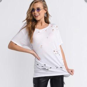 TOBI white distressed soft t shirt short sleeve